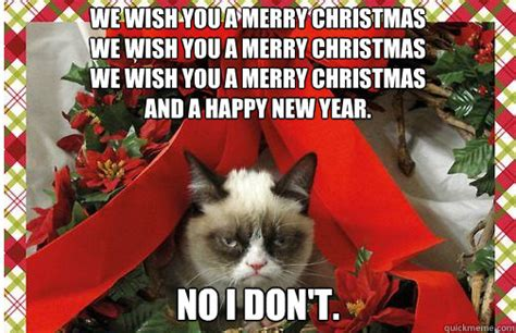 Happy Christmas Meme - christmas grumpy cat no
