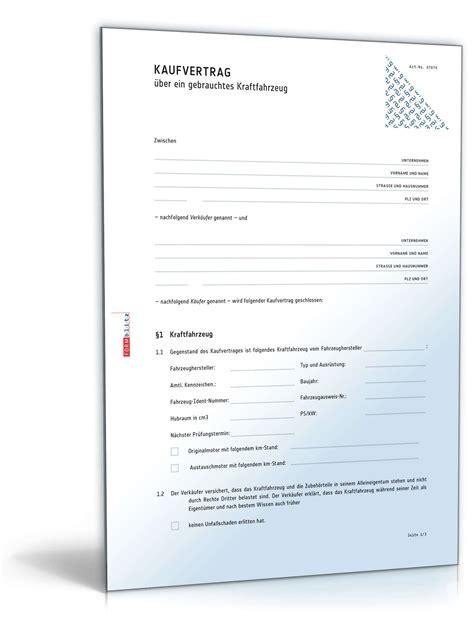 Kaufvertrag Auto Doc by Kaufvertrag 252 Ber Ein Gebrauchtes Kraftfahrzeug Muster