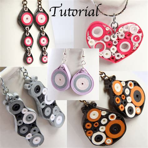 Paper Earrings Tutorial - tutorial for paper quilled jewelry pdf retro circles by