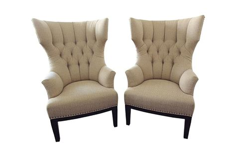 Upholstered Wingback Chairs by Pair Of Classic Upholstered Wingback Chairs With Nailhead