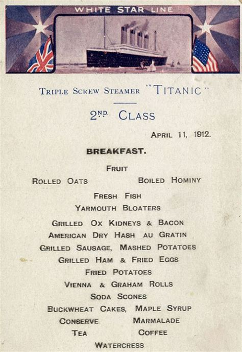 titanic second class menu menus reveal what the different passenger classes ate on