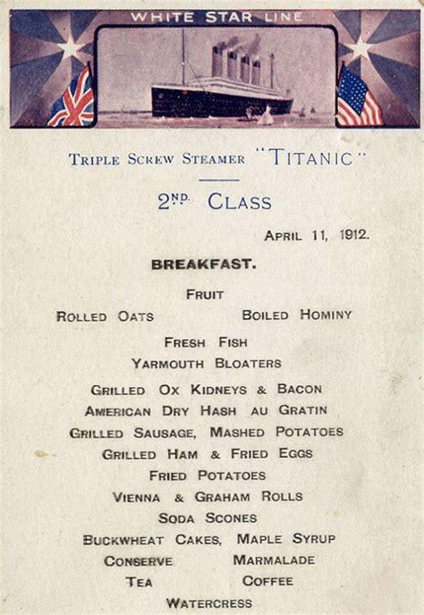 titanic third class menu menus reveal what the different passenger classes ate on