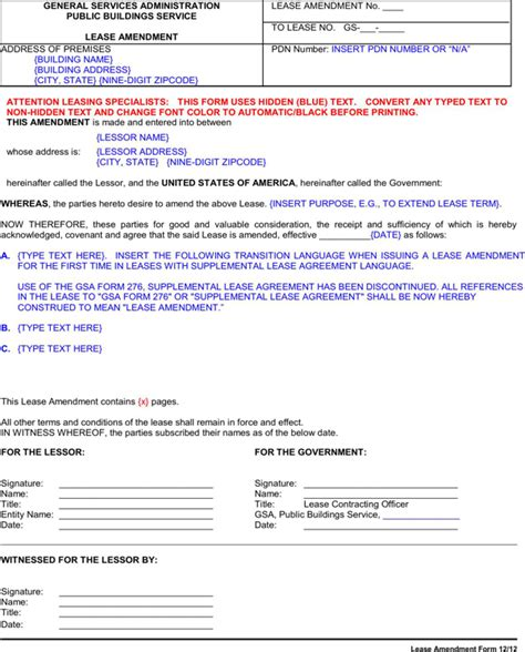 lease amendment form lease amendment form for free formtemplate