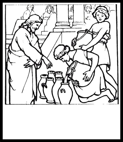 coloring pages water to wine jesus turning water into wine coloring page sketch