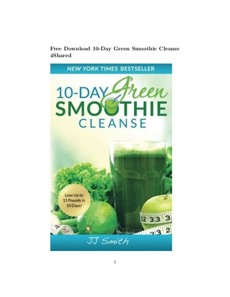 10 Day Green Smoothie Detox Pdf by 10 Day Green Smoothie Cleanse