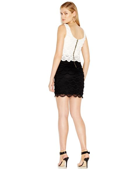 Guess Gs White Lace Romper guess colorblocked fringe lace bodycon dress in black lyst