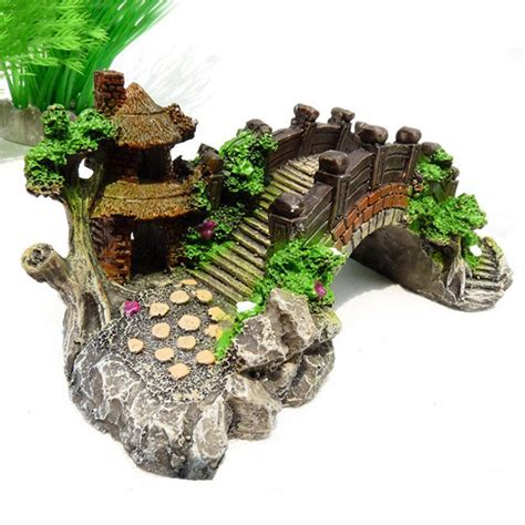 Decoration Of Aquarium by Small Aquarium Resin Bridge Landscape Fish Tank Ornament