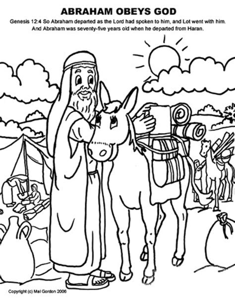 abraham obeys god colouring pages
