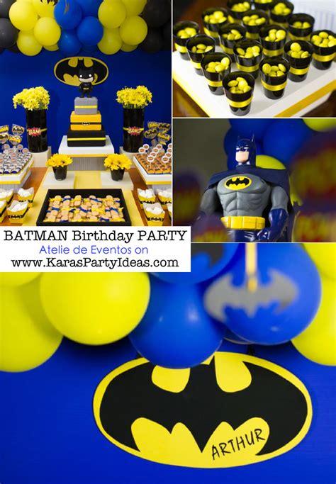 karas party ideas batman boy superhero  birthday party planning ideas decorations