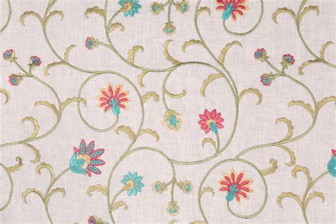 embroidered drapery fabric 1 2 yards embroidered cotton drapery fabric