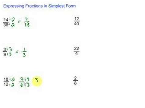 expressing fractions in simplest form