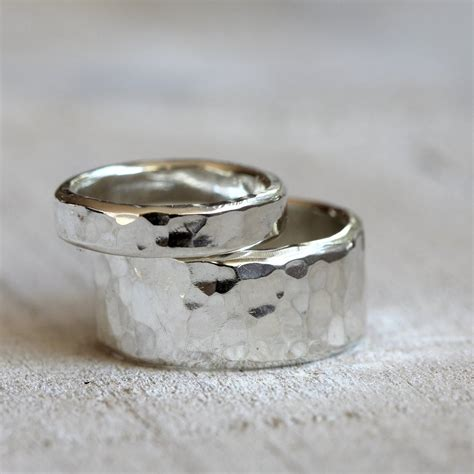 sterling silver hammered rings wedding ring set praxis