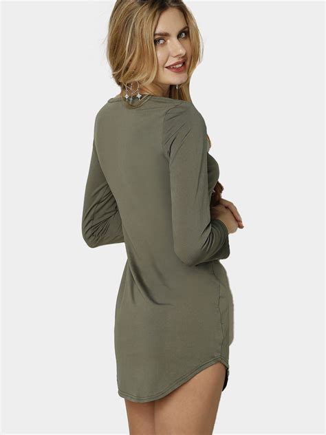 Fleece Lined Pullover Dress army green fleece lined pullover curved hem bodycon fit