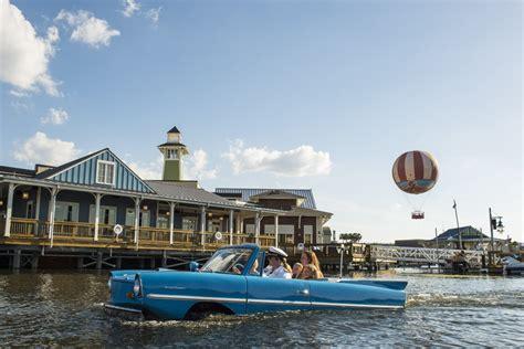 boat car in disney car drives into the lake at downtown disney in walt disney