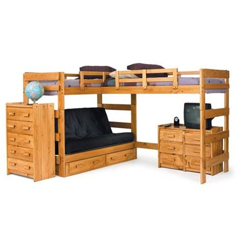 L Shaped Bunk Beds With Storage Chelsea Home Furniture 3662001 S L Shaped Futon Loft Bed With Underbed Storage In Honey