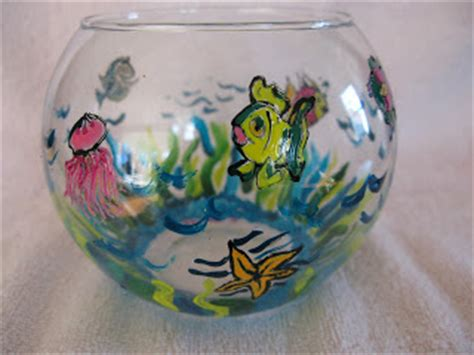 Acrylic Fish Bowl Vase by Painted Glass By Carol Bailey Whimsical Fish Bowl Vase