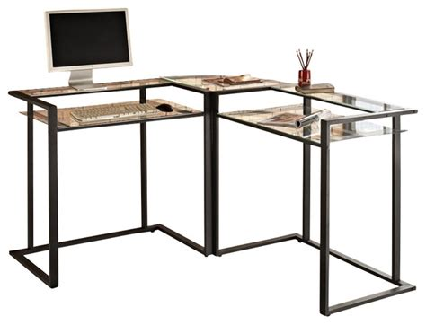 glass l shape computer desk with silver frame finish walker edison c frame glass and metal l shaped computer