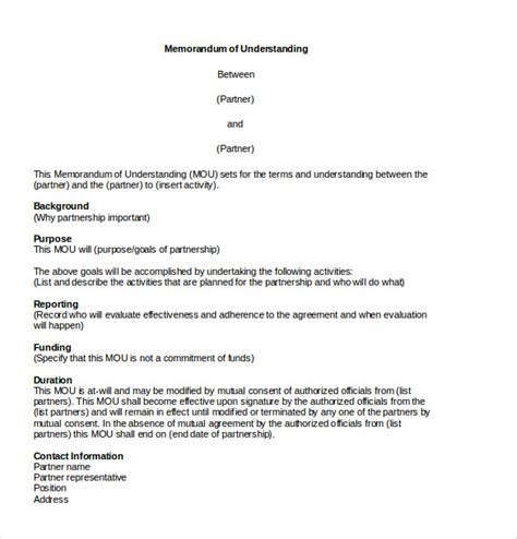 memorandum of understanding template word memorandum of agreement template 12 free word pdf