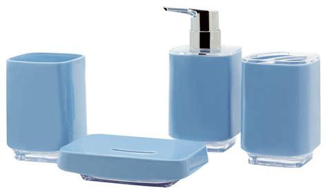 Modern Grey Bathroom Accessories Infinity 4 Bathroom Accessory Set Gray Blue