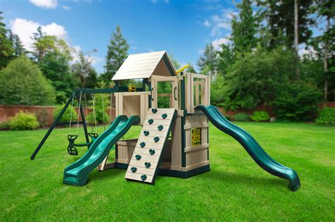 free swing sets congo safari deluxe lookout and climber swing set