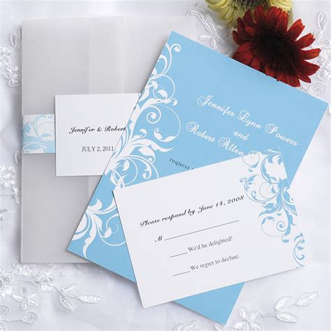 blue wedding invitations vintage light blue damask pocket wedding invitations
