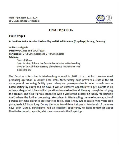 tour report sle format field visit report template 28 images exle of