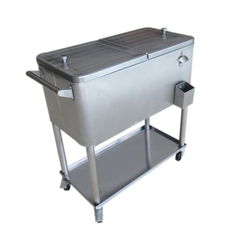 permasteel 80 qt stainless steel patio cooler with bottom