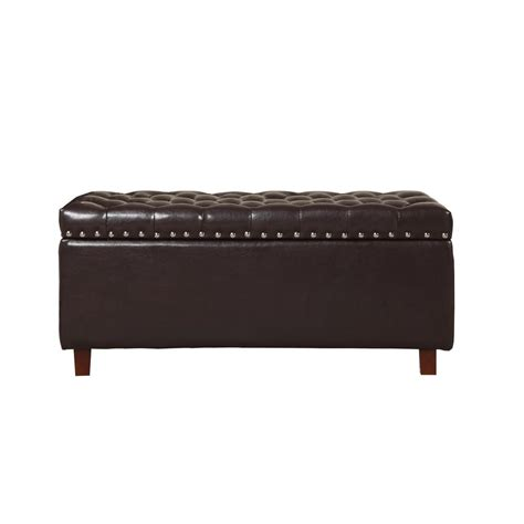 bonded leather storage ottoman brown bonded leather storage ottoman 91018bd 63br the
