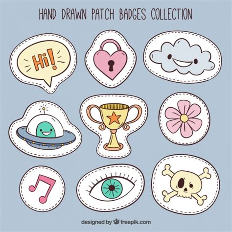 design online patches collection of cute patches vector free download