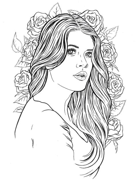pretty hair coloring pages beautiful lady coloring pages for adults pinterest