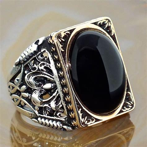 mens ring  sterling silver black onyx unique elegant