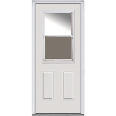 Steel Glass Panel Exterior Door Mmi Door 36 In X 80 In Clear Glass Right 1 2 Lite 2 Panel Venting Classic Primed Steel