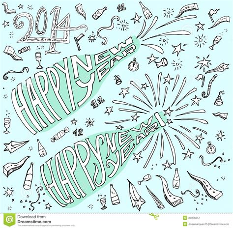doodle new happy new year doodle style stock vector
