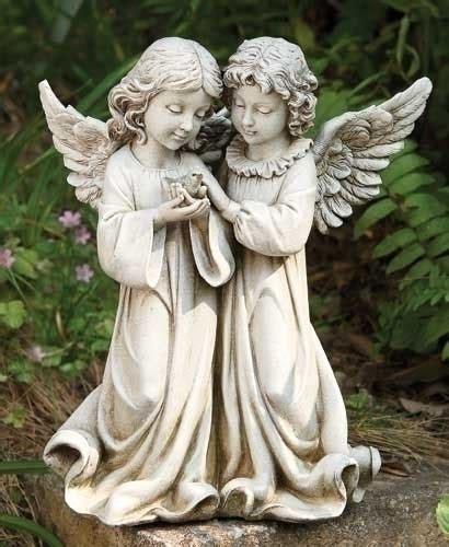 garden statue angels  bird giftswithloveinc