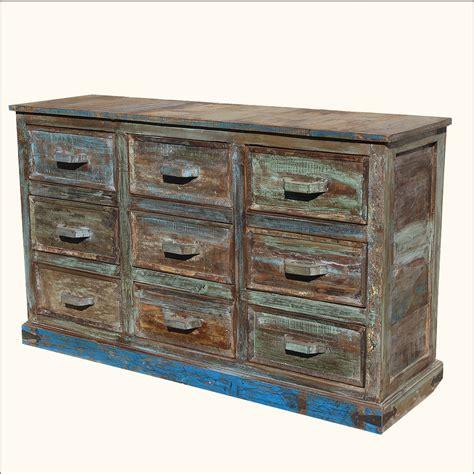 rustic reclaimed wood distressed 9 drawer vanity drawer