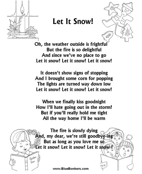 bluebonkers let it snow free printable christmas carol