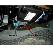 Blower Resistor And Motor Location Under The Passenger Side Of
