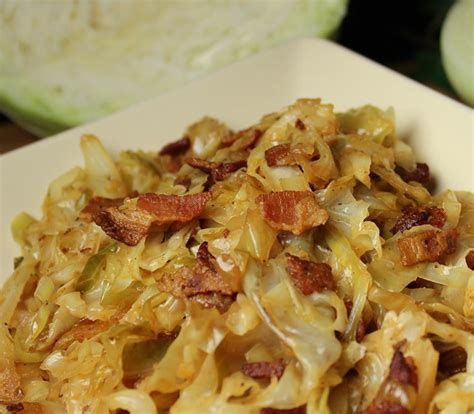 fried cabbage with bacon onion and garlic just paleo food