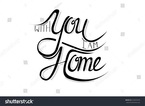 you home modern calligraphy lettering design stock vector
