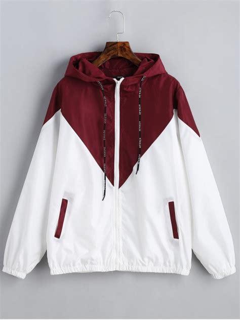 Jaket Parka Two Tone Polos Blackred two tone hooded windbreaker with white jackets coats s zaful