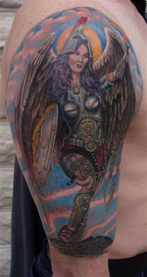 angel warrior tattoo guardian by larry brogan tattoos