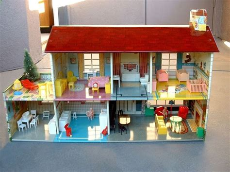 tin doll house vintage marx tin litho doll house dollhouse 51 pieces furniture box o