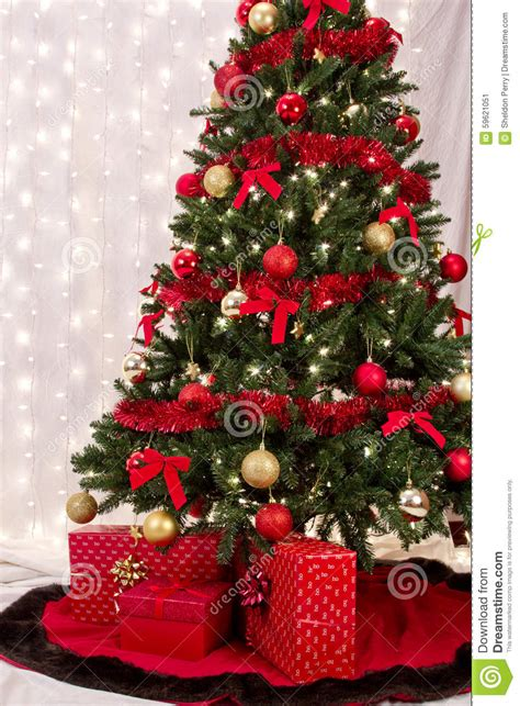 christmas packages under the tree stock photo image