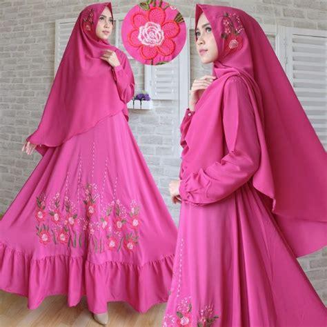 Busana Muslim Gamis Katun Kerudung Putih Syariah baju gamis syari woolpeach bordir busana muslim modern