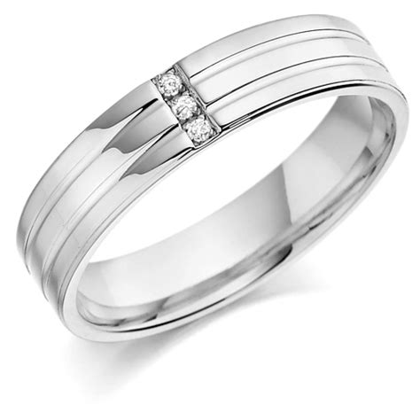 platinum gents 5mm wedding ring with 2 parallel grooves