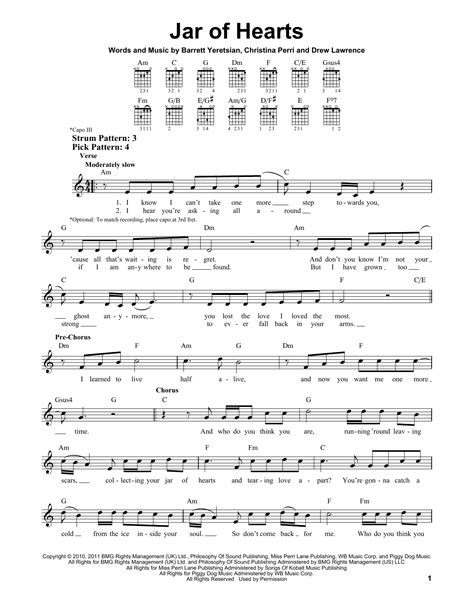 tutorial guitar jar of hearts jar of hearts sheet music by christina perri easy guitar