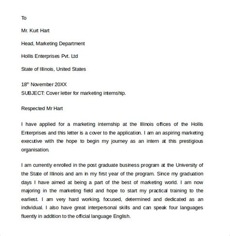 best cover letters for internships cover letter for internship sle marketing 24 cover