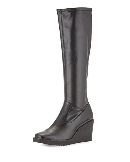 donald j pliner dahlia wedge leather knee boot black