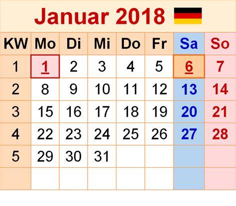 Kalender 2018 Schulferien Deutschland Kalender Januar 2018 Zum Ausdrucken Pdf Excel Word