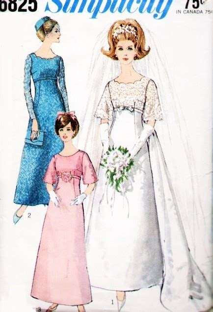 pattern dress with train 60s beautiful empire wedding gown bridal dress pattern